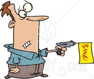 5713-man-shooting-a-dud-gun-with-a-bang-flag-clipart-illustration